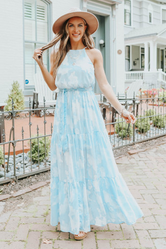 Above the Clouds Halter Watercolor Tiered Maxi - FINAL SALE