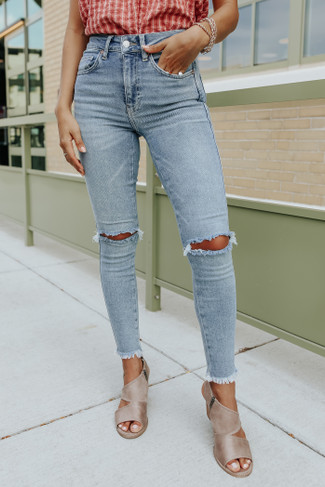 Free People Sweet Blue Raw High Rise Jeggings