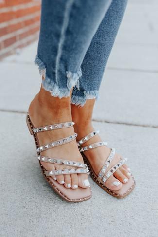 Steve Madden Skyler Studded Tan Sandals
