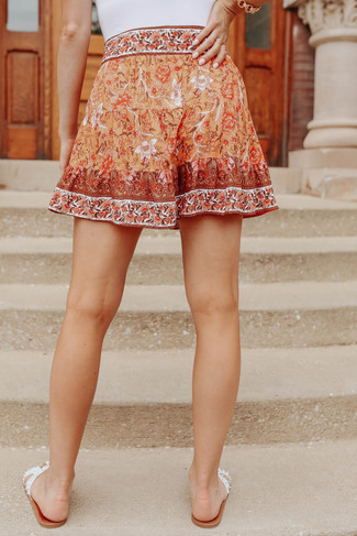 Tangerine Floral Tiered Ruffle Shorts - FINAL SALE