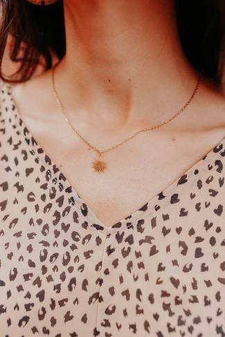 Golden Sun Pendant Necklace