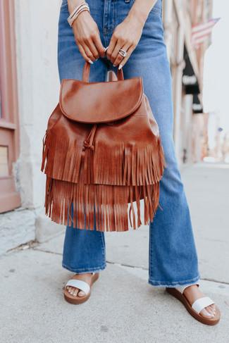 Adley Vegan Leather Brown Fringe Backpack