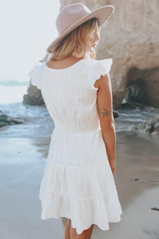 Cap Sleeve Button Detail White Dotted Dress - FINAL SALE