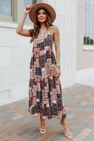 Desert Valley Patchwork Print Midi Dress - FINAL SALE