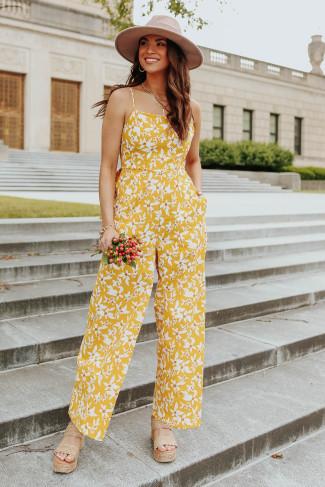 Sunshine Market Tie Back Floral Jumpsuit - FINAL SALE