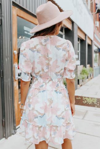 Short Sleeves Surplice Pastel Floral Dress - FINAL SALE