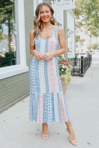 Scoop Neck Mixed Print Midi Dress - FINAL SALE