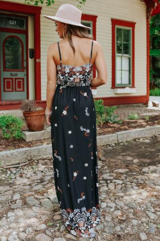 Nashville Market V-Neck Black Floral Maxi - FINAL SALE