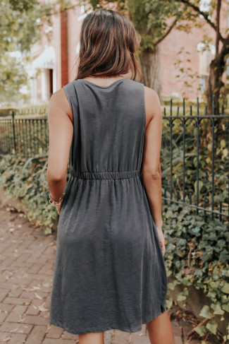 Button Down Charcoal Empire Dress - FINAL SALE
