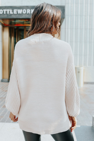 Mock Neck Oatmeal Seam Detail Sweater