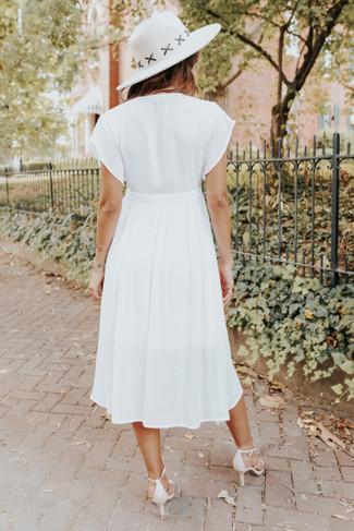 Short Sleeve Button Down White Midi Dress - FINAL SALE