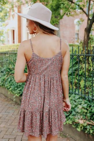 V-Neck Ditsy Mauve Floral Babydoll Dress - FINAL SALE