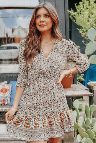 Garden Dreams Surplice Cream Floral Dress - FINAL SALE