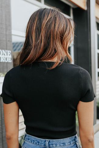 Uptown Cafe Square Neck Ribbed Bodysuit