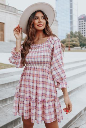 Square Neck Smocked Pink Plaid Dress - FINAL SALE