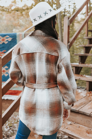 Woodsboro Tie Waist Caramel Plaid Coat