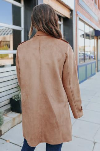 Open Front Faux Suede Camel Coat