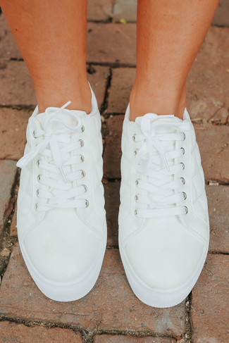Faux Leather White Quilted Sneakers - FINAL SALE