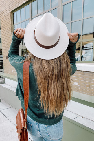 Faux Suede Ivory Belted Hat