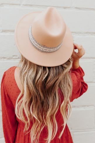 Emilia Printed Ribbon Tan Hat - FINAL SALE