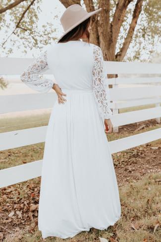 Lace Sleeve White Faux Wrap Maxi