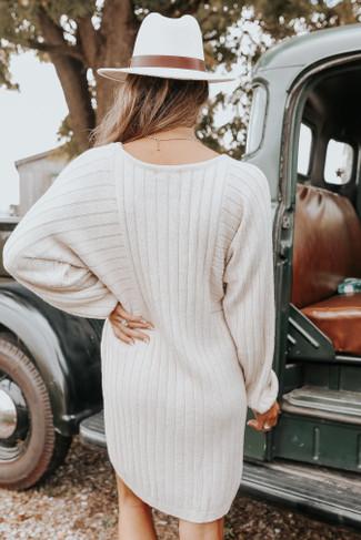 Hawthorne Dolman Oatmeal Ribbed Sweater Dress