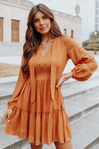 V-Neck Tie Detail Rust Dotted Tiered Dress - FINAL SALE