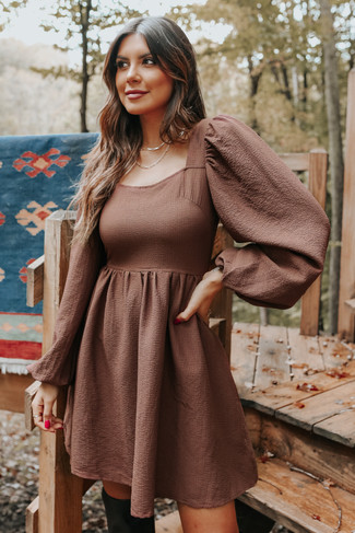 Square Neck Puff Sleeve Brown Textured Dress