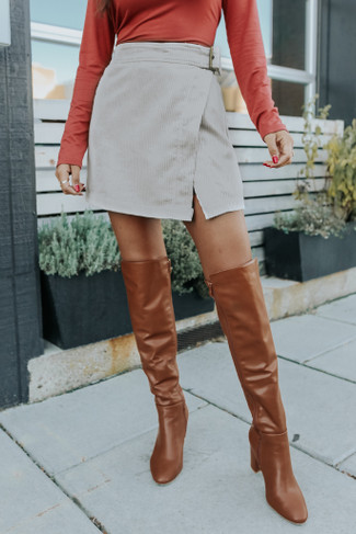 Faux Wrap Belted Cream Corduroy Skirt