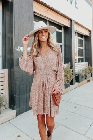 Marisol V-Neck Dusty Pink Floral Dress