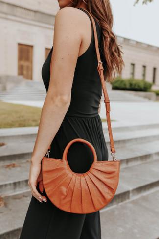 Vegan Leather Tan Half Moon Handbag - FINAL SALE