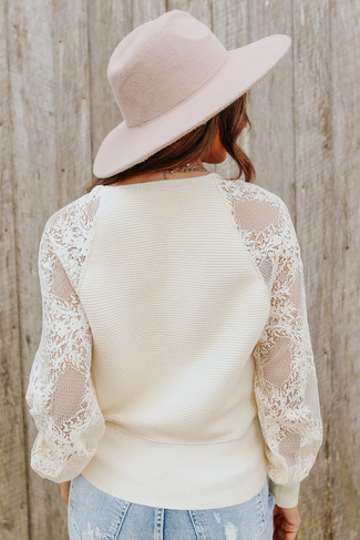 Cross Front Lace Sleeve Cream Ribbed Sweater