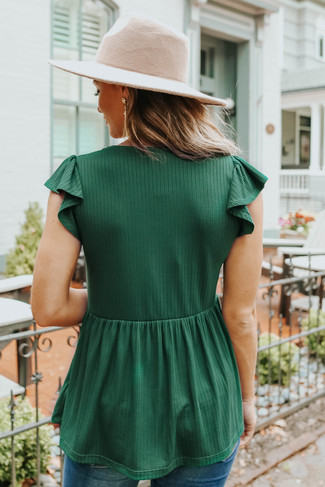 V-Neck Green Ribbed Empire Top - FINAL SALE