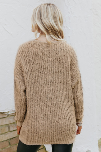 V-Neck Taupe Boucle Sweater - FINAL SALE
