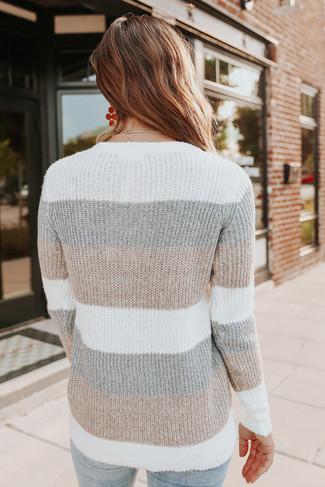 Woodland Cottage Neutral Colorblock Sweater - FINAL SALE