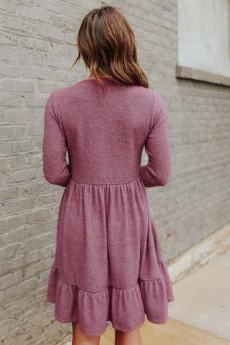 V-Neck Soft Brushed Berry Mauve Empire Dress - FINAL SALE