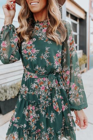 Mock Neck Tie Waist Green Floral Dress