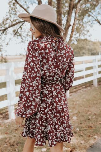 Mock Neck Wine Floral Tie Waist Dress