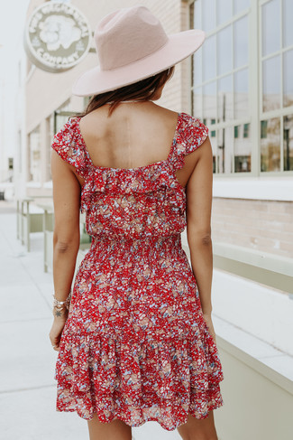 Square Neck Ruffle Red Floral Dress - FINAL SALE