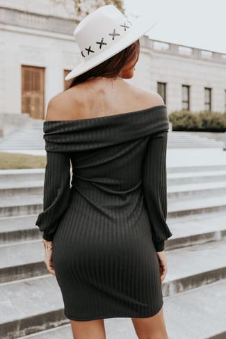 Off the Shoulder Black Ribbed Dress