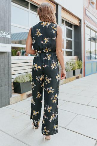 Roman Garden Surplice Black Floral Jumpsuit - FINAL SALE