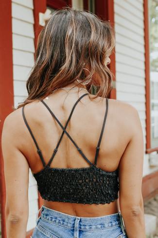 Strappy Scalloped Lace Dark Charcoal Bralette - FINAL SALE