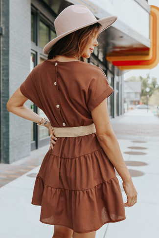 Short Sleeve Belted Brown Tiered Dress - FINAL SALE