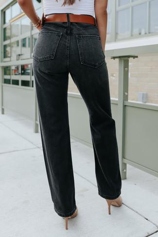 Harlie Distressed Black Straight Leg Jeans - FINAL SALE