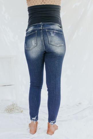 Maternity Medium Wash Distressed Skinny Jeans - FINAL SALE