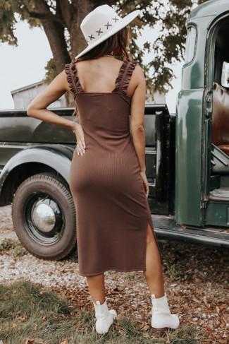 Ruffle Strap Chocolate Ribbed Midi Dress