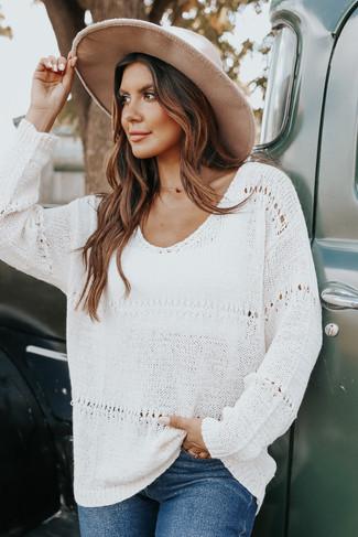 V-Neck Natural Pointelle Sweater