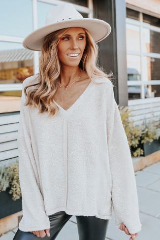 V-Neck Seam Detail Cream Textured Sweater