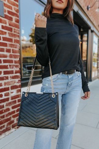 NYC Faux Leather Black Quilted Handbag