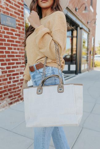 Chain Link Neutral Contrast Satchel Handbag